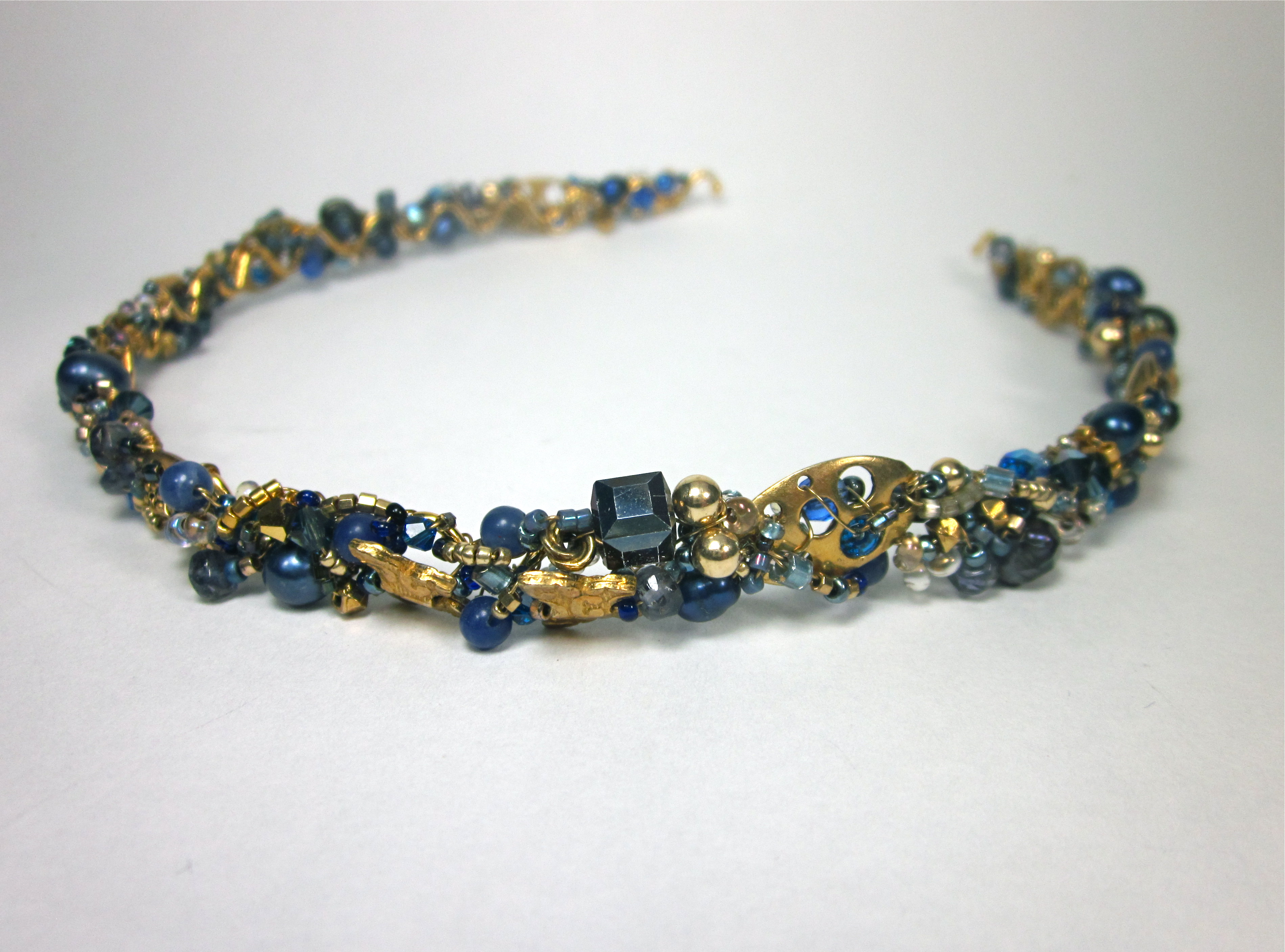 Blue and Gold Beaded Head Band