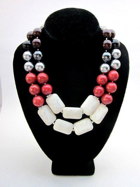 color block gemstone necklace