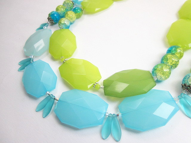 Aqua & lime necklace