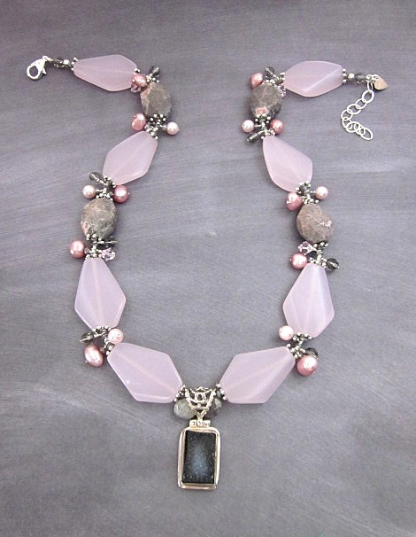Labradorite & Pink glass