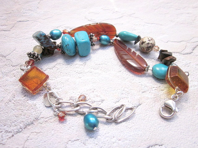 amber, turquoise and horn bracelet