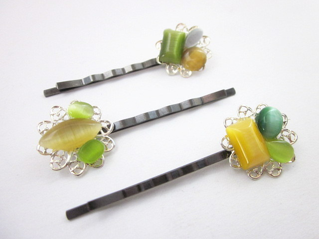 yellow & green hair pins