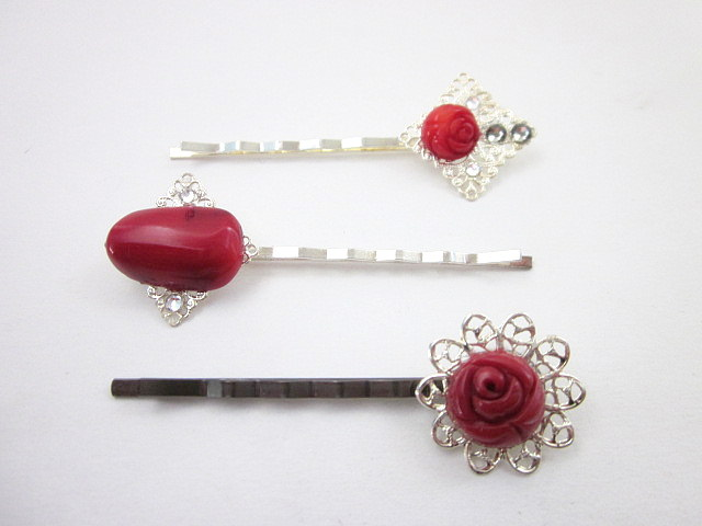 red coral hair pins