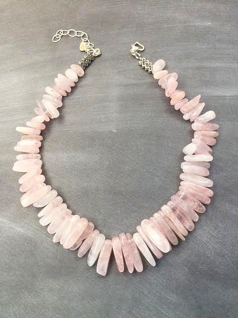 rose quartz spike necklace