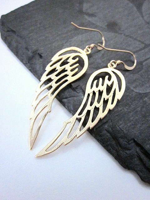gold plated brass wing earrings