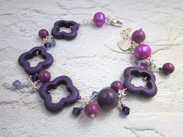 purple turquoise & pearl bracelet