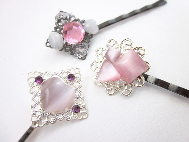 pink gem hair pins