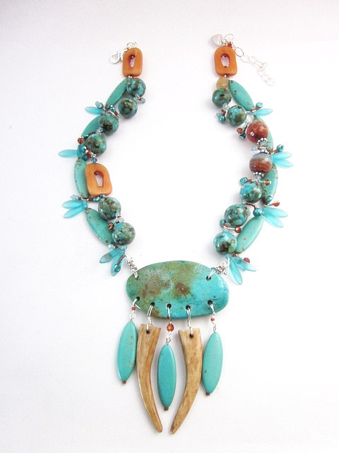 Turquoise & Tan necklace