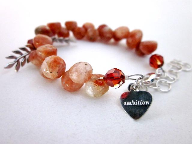 Sunstone mantra bracelet
