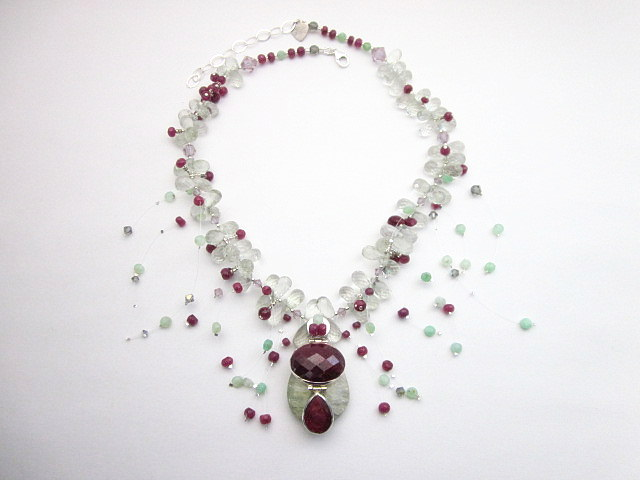 Ruby and green amethyst necklace