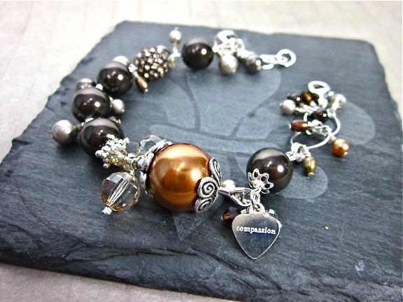 Swarovski pearl & smoky quartz