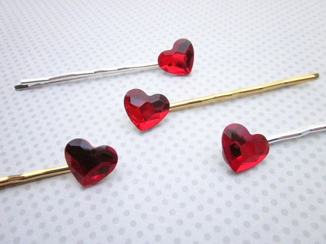 Swarovski red heart hair pins