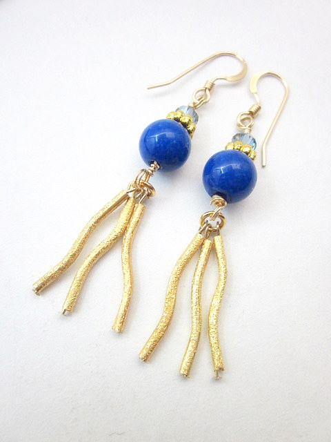 blue jade and gold earrings