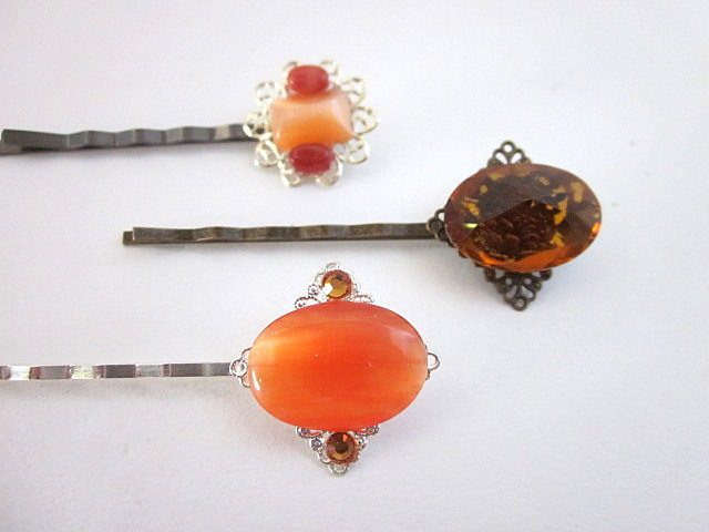 orange gem hair pins
