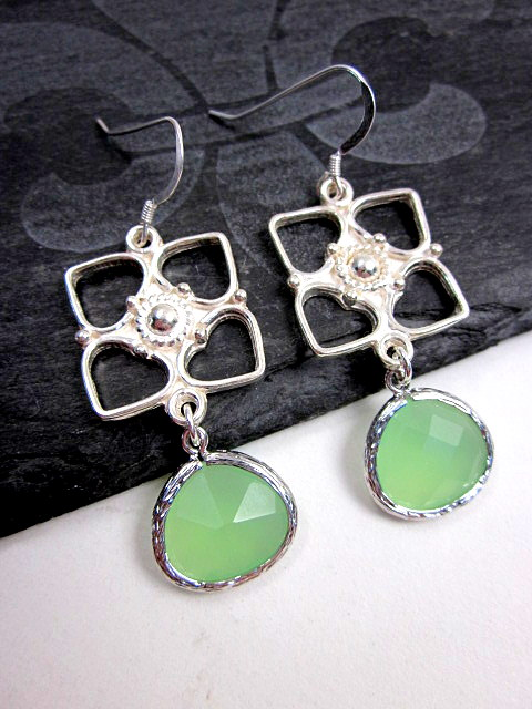 sterling and mint glass earrings