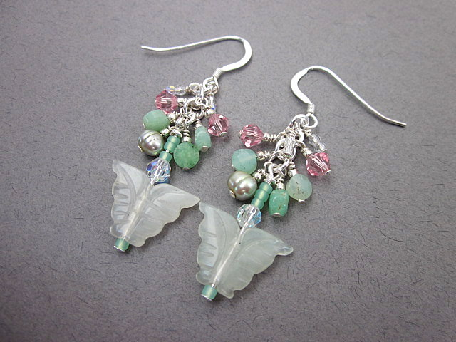 New jade and crystal earrings