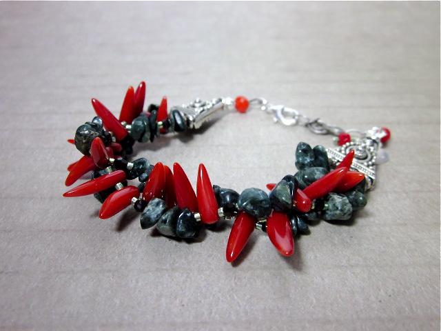 Red coral & green opal bracelet