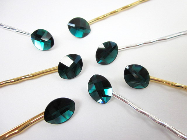 Emerald Swarovski hair pins