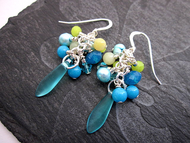 teal and lime earrings