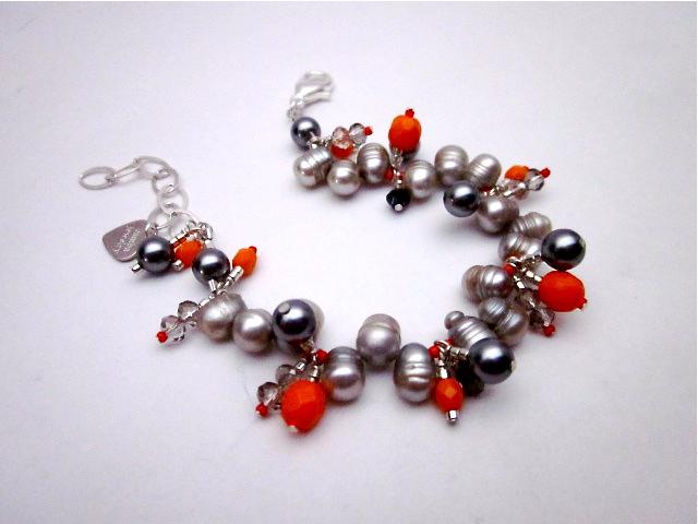 Grey pearl and orange bracelet