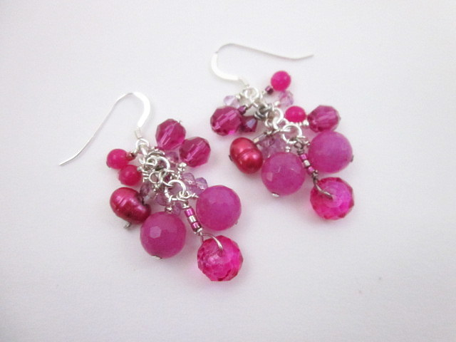 Pink agate and pearl earrings