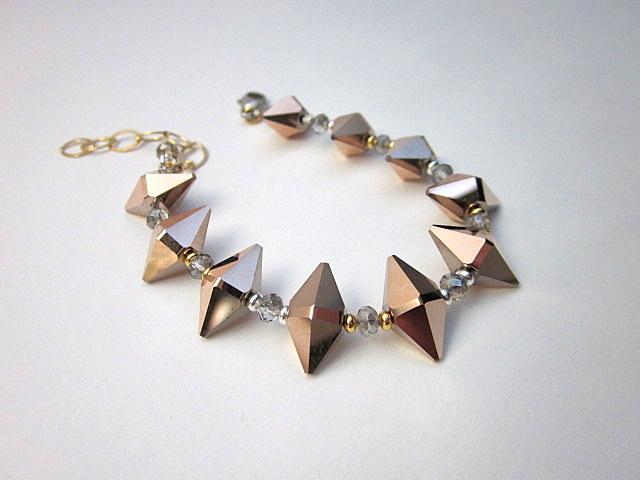 rose quartz crystal spike bracelet