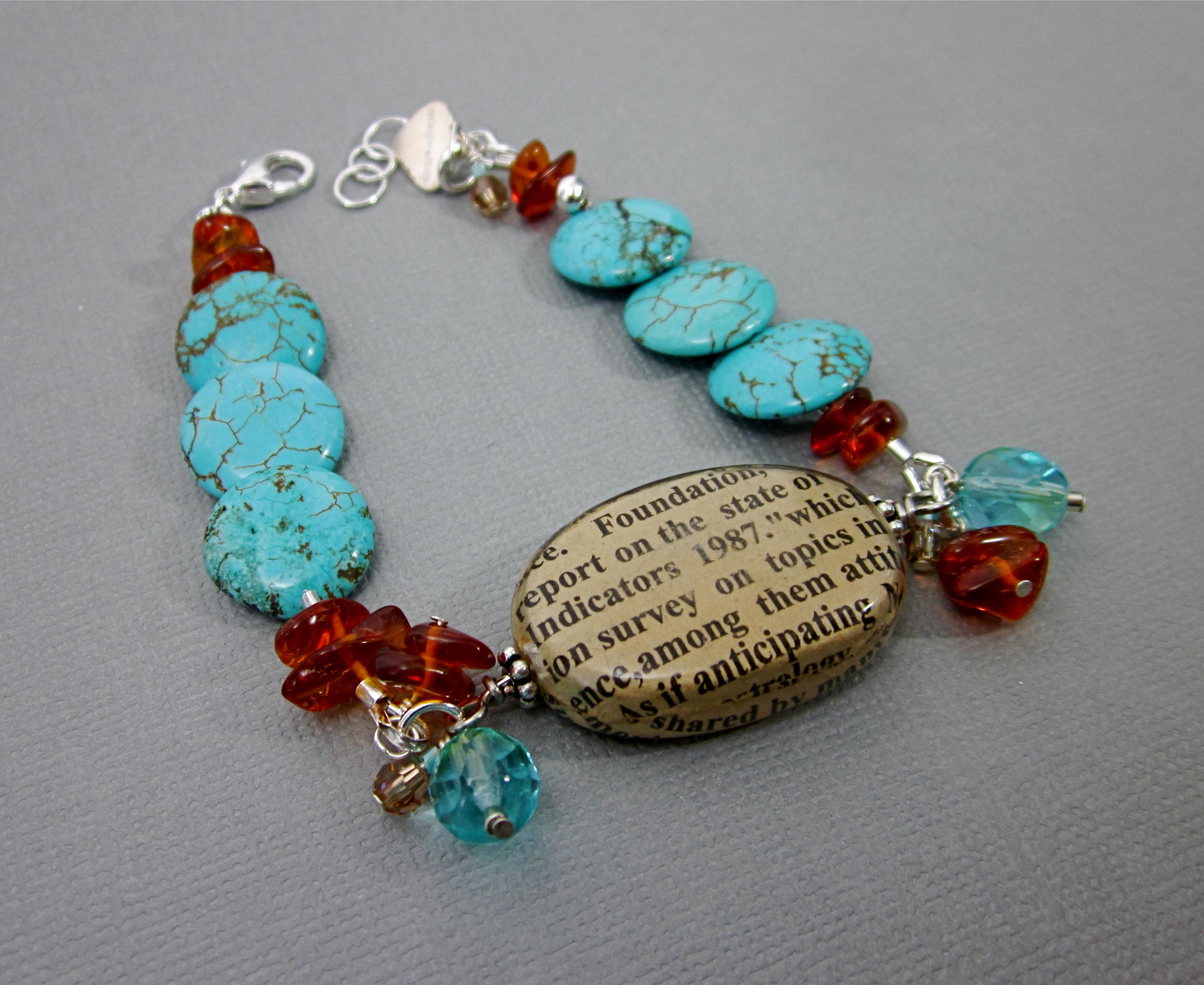 Amber & magnesite bracelet