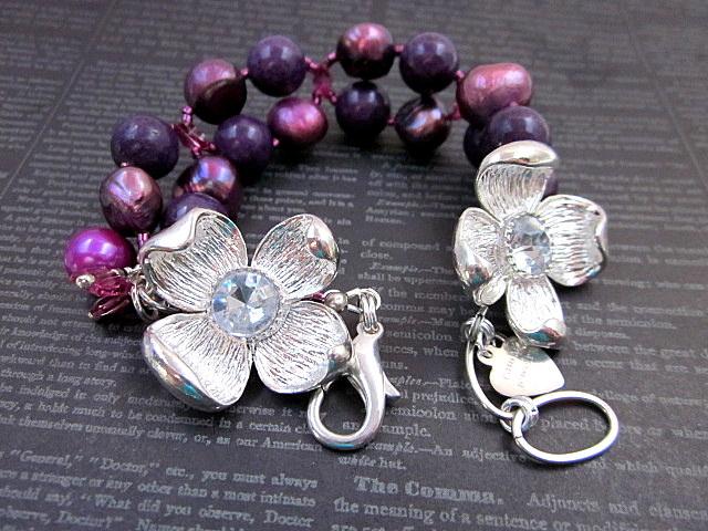 pearl & purple riverstone bracelet