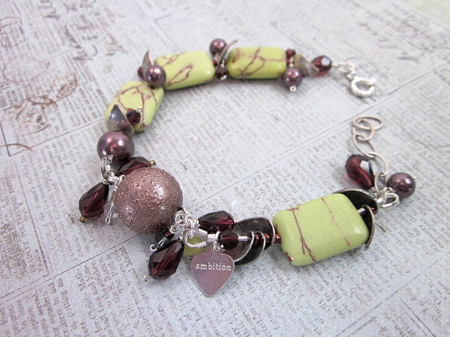 lime turquoise and burgundy bracelet
