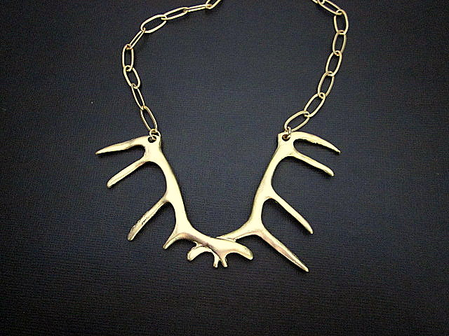 22k plated antler necklace