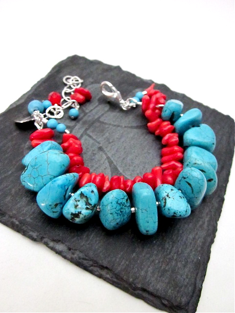 Coral & Magnesite bracelet