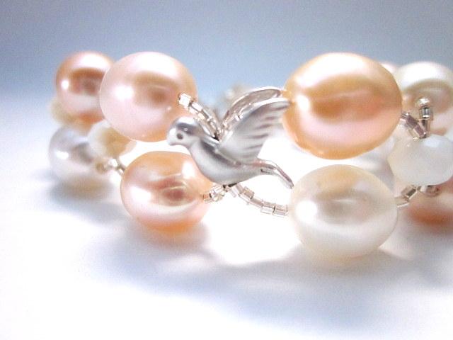 pink peach & white pearl bracelet