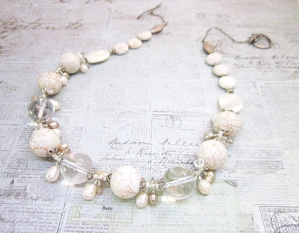 white turquoise & quartz necklace