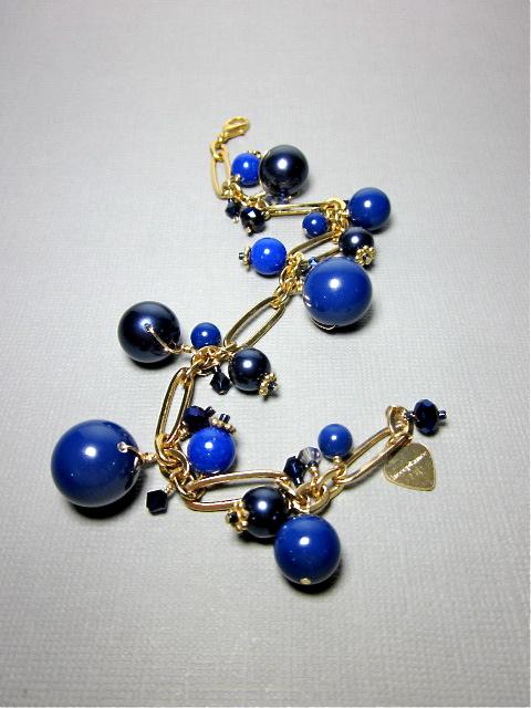 Blue Swarovski pearl bracelet