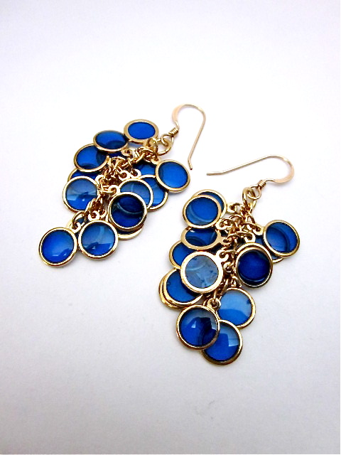 Blue resin and gold earrings