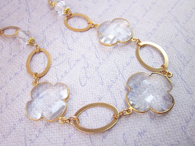 crystal quatrefoil & gold necklace