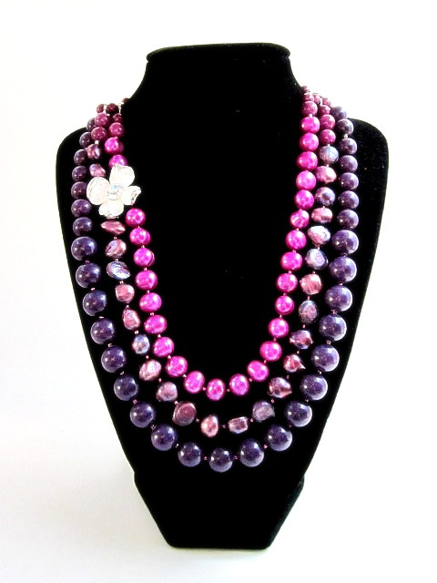 Pearl & Purple riverstone necklace