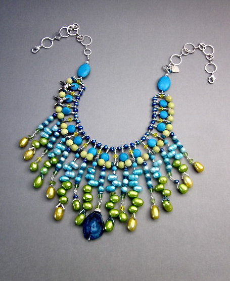 Lime & Blue Stalactite Necklace