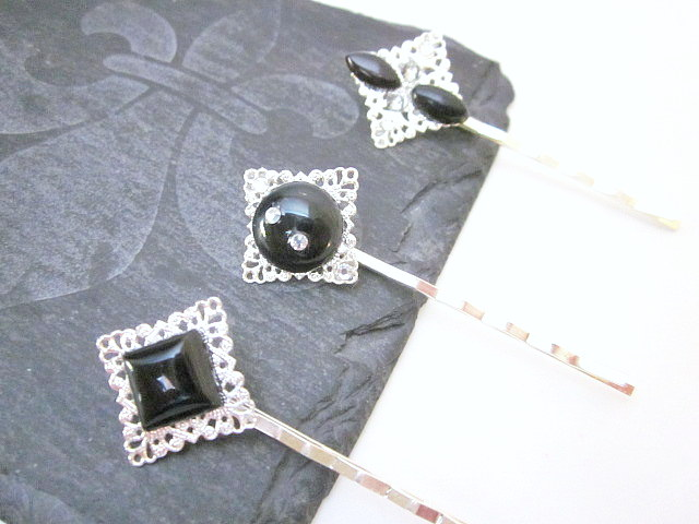 black gem hair pins