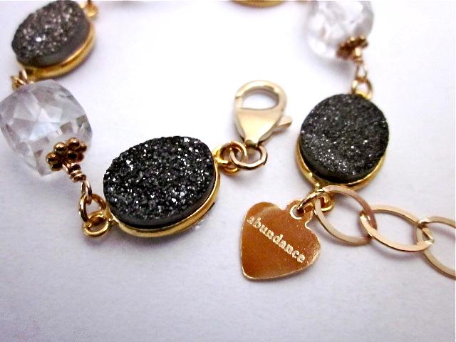 Druzy & crystal quartz bracelet