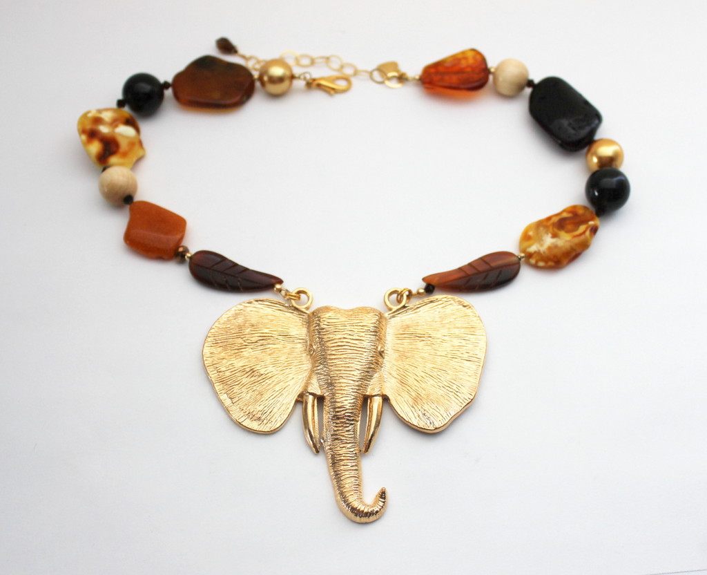 Baltic amber & brass elephant