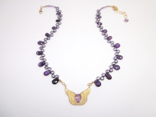 Amethyst& Pearl necklace