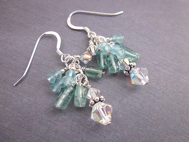 apatite and crystal earrings