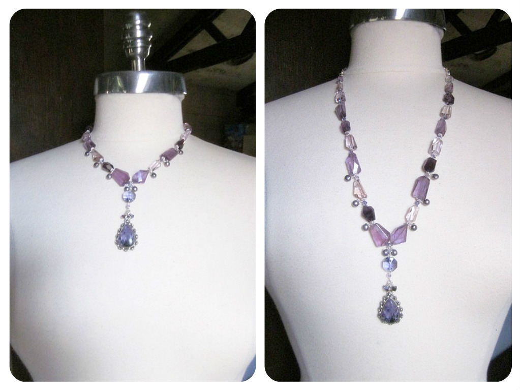 Amethyst necklace with removable bracelet