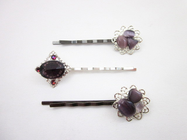 purple gem hair pins