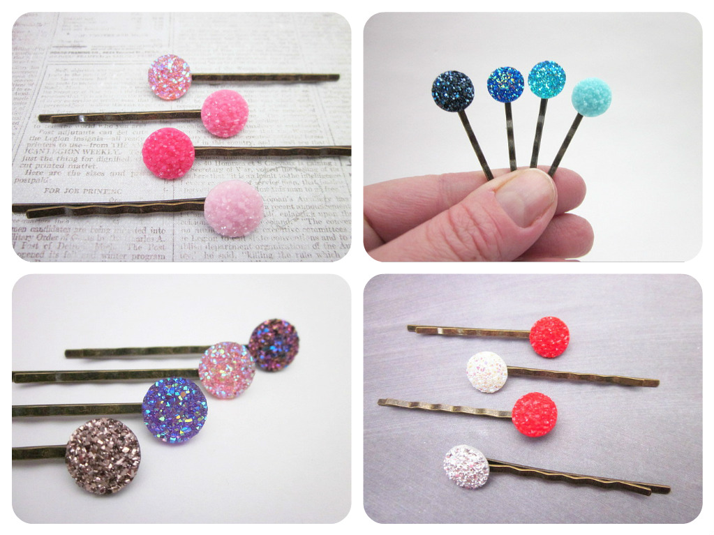Resin druzy hair pins