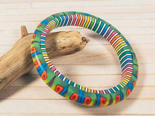 Fun and colourful polymer clay bangle bracelet, with a well-sanded silky smooth