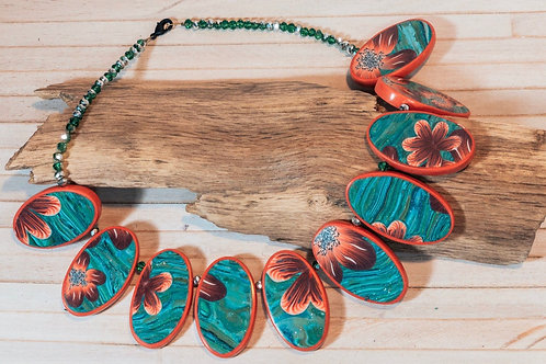 Colourful statement necklace, made with handmade polymer clay beads. Eye-catchin