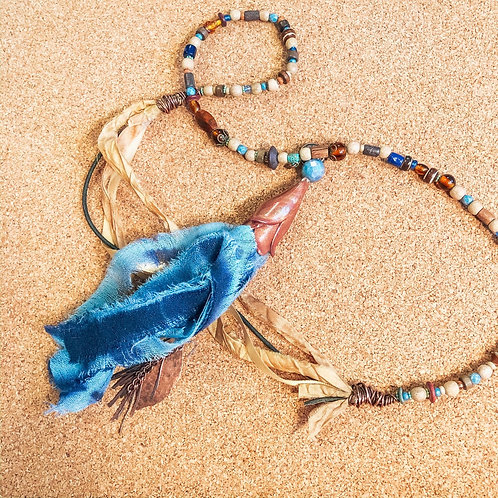 Long boho tassel necklace with beads, sari silk, and handmade details in copper