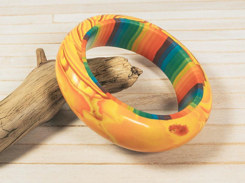 Chunky polymer clay bangle bracelet, with a well-sanded silky smooth finish, whi
